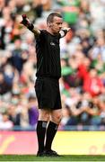 11 September 2021; Referee Joe McQuillan signals a penalty to Mayo during the GAA Football All-Ireland Senior Championship Final match between Mayo and Tyrone at Croke Park in Dublin. Photo by Seb Daly/Sportsfile