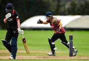 11 September 2021; Amy Campbell of Bready celebrates after taking the wicket of Louise Little of Pembroke during the Clear Currency Women's All-Ireland T20 Cup Final match between Bready cricket club and Pembroke cricket club at Bready Cricket Club in Tyrone. Photo by Ben McShane/Sportsfile