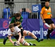 11 September 2021; Helen McGhee of Ulster scores her side's first try despite the tackle of Noreen Cassidy of Connacht during the Vodafone Women's Interprovincial Championship Round 3 match between Connacht and Ulster at Energia Park in Dublin. Photo by Harry Murphy/Sportsfile