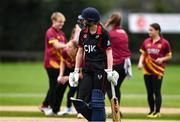 11 September 2021; Louise Little of Pembroke leaves the field of play after having her wicket taken by Amy Campbell of Bready during the Clear Currency Women's All-Ireland T20 Cup Final match between Bready cricket club and Pembroke cricket club at Bready Cricket Club in Tyrone. Photo by Ben McShane/Sportsfile