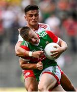 11 September 2021; Ryan O'Donoghue of Mayo is tackled by Michael McKernan of Tyrone during the GAA Football All-Ireland Senior Championship Final match between Mayo and Tyrone at Croke Park in Dublin. Photo by David Fitzgerald/Sportsfile