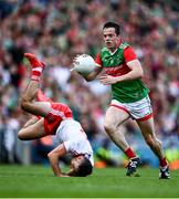 11 September 2021; Stephen Coen of Mayo breaks away from Conor McKenna of Tyrone during the GAA Football All-Ireland Senior Championship Final match between Mayo and Tyrone at Croke Park in Dublin. Photo by David Fitzgerald/Sportsfile
