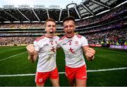 11 September 2021; Peter Harte, left, and Michael McKernan of Tyrone celebrate after winning the GAA Football All-Ireland Senior Championship Final match between Mayo and Tyrone at Croke Park in Dublin. Photo by David Fitzgerald/Sportsfile