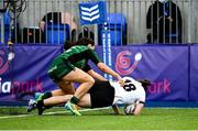 11 September 2021; Shannon Buller of Ulster dives over to score her side's second try despite the tackle of Nicole Carroll of Connacht during the Vodafone Women's Interprovincial Championship Round 3 match between Connacht and Ulster at Energia Park in Dublin. Photo by Harry Murphy/Sportsfile
