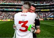 11 September 2021; Tyrone goalkeeper Niall Morgan, right, celebrates with team-mate Ronan McNamee after their side's victory over Mayo in the GAA Football All-Ireland Senior Championship Final match at Croke Park in Dublin. Photo by Seb Daly/Sportsfile
