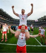 11 September 2021; Frank Burns of Tyrone celebrates on the shoulders of team-mate Hugh Pat McGeary during the GAA Football All-Ireland Senior Championship Final match between Mayo and Tyrone at Croke Park in Dublin. Photo by Stephen McCarthy/Sportsfile
