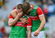 11 September 2021; Ryan O'Donoghue of Mayo, left, is consoled by team-mate Aidan O'Shea after the GAA Football All-Ireland Senior Championship Final match between Mayo and Tyrone at Croke Park in Dublin. Photo by Brendan Moran/Sportsfile