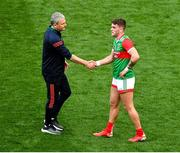 11 September 2021; Mayo manager James Horan shakes hands with Jordan Flynn of Mayo after the GAA Football All-Ireland Senior Championship Final match between Mayo and Tyrone at Croke Park in Dublin. Photo by Daire Brennan/Sportsfile