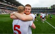 11 September 2021; Cathal McShane of Tyrone celebrates with team-mate Frank Burns, 5, after the GAA Football All-Ireland Senior Championship Final match between Mayo and Tyrone at Croke Park in Dublin. Photo by Stephen McCarthy/Sportsfile