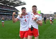11 September 2021; Conor McKenna, left, and Cathal McShane of Tyrone celebrate after the GAA Football All-Ireland Senior Championship Final match between Mayo and Tyrone at Croke Park in Dublin. Photo by Piaras Ó Mídheach/Sportsfile