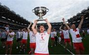 11 September 2021; Niall Kelly of Tyrone celebrates with the Sam Maguire Cup after the GAA Football All-Ireland Senior Championship Final match between Mayo and Tyrone at Croke Park in Dublin. Photo by Ramsey Cardy/Sportsfile