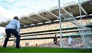 11 September 2021; Tyrone goalkeeper Niall Morgan looks on as a penalty from Ryan O'Donoghue of Mayo hits the post and goes wide during the GAA Football All-Ireland Senior Championship Final match between Mayo and Tyrone at Croke Park in Dublin. Photo by David Fitzgerald/Sportsfile
