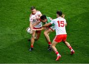 11 September 2021; Conor Loftus of Mayo in action against Niall Sludden, left, and Conor McKenna of Tyrone during the GAA Football All-Ireland Senior Championship Final match between Mayo and Tyrone at Croke Park in Dublin. Photo by Daire Brennan/Sportsfile
