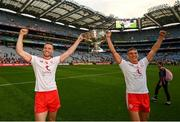 11 September 2021; Brian Kennedy, left, and Frank Burns of Tyrone celebrate with the Sam Maguire Cup after the GAA Football All-Ireland Senior Championship Final match between Mayo and Tyrone at Croke Park in Dublin. Photo by Stephen McCarthy/Sportsfile