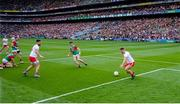 11 September 2021; Niall Sludden of Tyrone blocks a goalbound shot off the line from Conor Loftus of Mayo during the GAA Football All-Ireland Senior Championship Final match between Mayo and Tyrone at Croke Park in Dublin. Photo by Brendan Moran/Sportsfile