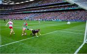 11 September 2021; Cathal McShane of Tyrone scores his side's first goal past Oisín Mullin and goalkeeper Rob Hennelly of Mayo during the GAA Football All-Ireland Senior Championship Final match between Mayo and Tyrone at Croke Park in Dublin. Photo by Brendan Moran/Sportsfile