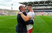11 September 2021; Niall Sludden of Tyrone celebrates with former Tyrone captain and Sky Sports GAA pundit Peter Canavan after the GAA Football All-Ireland Senior Championship Final match between Mayo and Tyrone at Croke Park in Dublin. Photo by Brendan Moran/Sportsfile