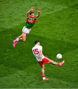 11 September 2021; Conor McKenna of Tyrone in action against Oisín Mullin of Mayo during the GAA Football All-Ireland Senior Championship Final match between Mayo and Tyrone at Croke Park in Dublin. Photo by Daire Brennan/Sportsfile