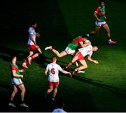 11 September 2021; Lee Keegan of Mayo in action against Darren McCurry of Tyrone during the GAA Football All-Ireland Senior Championship Final match between Mayo and Tyrone at Croke Park in Dublin. Photo by Daire Brennan/Sportsfile
