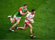 11 September 2021; Darren McCurry of Tyrone in action against Lee Keegan of Mayo during the GAA Football All-Ireland Senior Championship Final match between Mayo and Tyrone at Croke Park in Dublin. Photo by Daire Brennan/Sportsfile