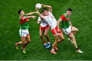 11 September 2021; Conn Kilpatrick of Tyrone catches a ball ahead of Enda Hession, left, and Matthew Ruane of Mayo, which resulted in his side's second goal during the GAA Football All-Ireland Senior Championship Final match between Mayo and Tyrone at Croke Park in Dublin. Photo by Daire Brennan/Sportsfile