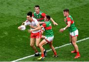 11 September 2021; Paul Donaghy of Tyrone in action against Stephen Coen, left, and Enda Hession of Mayo during the GAA Football All-Ireland Senior Championship Final match between Mayo and Tyrone at Croke Park in Dublin. Photo by Daire Brennan/Sportsfile