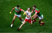 11 September 2021; Conor Meyler of Tyrone in action against Tommy Conroy, left, and Aidan O'Shea of Mayo during the GAA Football All-Ireland Senior Championship Final match between Mayo and Tyrone at Croke Park in Dublin. Photo by Daire Brennan/Sportsfile