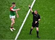 11 September 2021; Referee Joe McQuillan shows Matthew Ruane of Mayo a red card during the GAA Football All-Ireland Senior Championship Final match between Mayo and Tyrone at Croke Park in Dublin. Photo by Daire Brennan/Sportsfile
