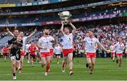 11 September 2021; Tyrone players Niall Morgan, Cathal McShane, Ronan McNamee, Frank Burns and Niall Kelly celebrate with the Sam Maguire Cup after the GAA Football All-Ireland Senior Championship Final match between Mayo and Tyrone at Croke Park in Dublin. Photo by Ramsey Cardy/Sportsfi