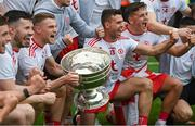11 September 2021; Tyrone players including Darren McCurry and Conn Kilpatrick celebrate with the Sam Maguire Cup after the GAA Football All-Ireland Senior Championship Final match between Mayo and Tyrone at Croke Park in Dublin. Photo by Ramsey Cardy/Sportsfile