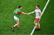 11 September 2021; Conor Meyler of Tyrone shakes hands with Stephen Coen of Mayo after the GAA Football All-Ireland Senior Championship Final match between Mayo and Tyrone at Croke Park in Dublin. Photo by Daire Brennan/Sportsfile