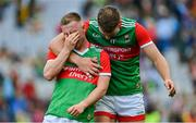 11 September 2021; Ryan O'Donoghue of Mayo is consoled by team-mate Aidan O'Shea after the GAA Football All-Ireland Senior Championship Final match between Mayo and Tyrone at Croke Park in Dublin. Photo by Brendan Moran/Sportsfile