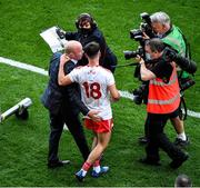 11 September 2021; Former Tyrone captain Peter Canavan celebrates with his son Darragh Canavan after the GAA Football All-Ireland Senior Championship Final match between Mayo and Tyrone at Croke Park in Dublin. Photo by Daire Brennan/Sportsfile