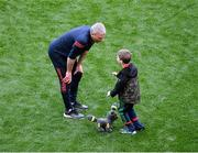 11 September 2021; Mayo manager James Horan with his son Eoghan after the GAA Football All-Ireland Senior Championship Final match between Mayo and Tyrone at Croke Park in Dublin. Photo by Daire Brennan/Sportsfile