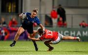 11 September 2021; Michelle Claffey of Leinster is tackled by Alana McInerney of Munster during the Vodafone Women's Interprovincial Championship Round 3 match between Leinster and Munster at Energia Park in Dublin. Photo by Harry Murphy/Sportsfile
