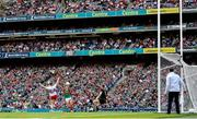 11 September 2021; Cathal McShane of Tyrone scores his side's first goal past Oisín Mullin and goalkeeper Rob Hennelly of Mayo during the GAA Football All-Ireland Senior Championship Final match between Mayo and Tyrone at Croke Park in Dublin. Photo by Ramsey Cardy/Sportsfile
