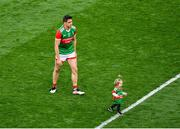 11 September 2021; Lee Keegan of Mayo with his daughter Líle, age 1, after the GAA Football All-Ireland Senior Championship Final match between Mayo and Tyrone at Croke Park in Dublin. Photo by Daire Brennan/Sportsfile