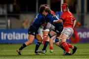 11 September 2021; Jennie Finlay, left, and Emma Murphy of Leinster collide during the Vodafone Women's Interprovincial Championship Round 3 match between Leinster and Munster at Energia Park in Dublin. Photo by Harry Murphy/Sportsfile