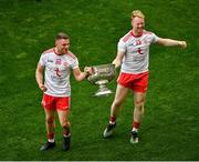 11 September 2021; Niall Kelly, left, and Hugh Pat McGeary of Tyrone celebrate with the Sam Maguire Cup after the GAA Football All-Ireland Senior Championship Final match between Mayo and Tyrone at Croke Park in Dublin. Photo by Daire Brennan/Sportsfile