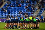 11 September 2021; Leinster players huddle before the Vodafone Women's Interprovincial Championship Round 3 match between Leinster and Munster at Energia Park in Dublin. Photo by Harry Murphy/Sportsfile