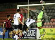 11 September 2021; Lee Stacey of Longford Town makes a save during the SSE Airtricity League Premier Division match between Longford Town and Dundalk at Bishopsgate in Longford. Photo by Michael P Ryan/Sportsfile