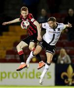 11 September 2021; Andy Boyle of Dundalk in action against Darragh Nugent of Longford Town during the SSE Airtricity League Premier Division match between Longford Town and Dundalk at Bishopsgate in Longford. Photo by Michael P Ryan/Sportsfile