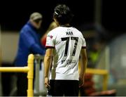 11 September 2021; Han Jeongwoo of Dundalk leave the field after been sent off during the SSE Airtricity League Premier Division match between Longford Town and Dundalk at Bishopsgate in Longford. Photo by Michael P Ryan/Sportsfile