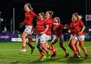 11 September 2021; Munster players including Alana McInerney and Nicole Cronin celebrate after the Vodafone Women's Interprovincial Championship Round 3 match between Leinster and Munster at Energia Park in Dublin. Photo by Harry Murphy/Sportsfile