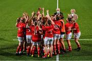 11 September 2021; Munster players celebrate with the trophy after the Vodafone Women's Interprovincial Championship Round 3 match between Leinster and Munster at Energia Park in Dublin. Photo by Harry Murphy/Sportsfile