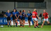 11 September 2021; Leinster players react at the full-time whistle during the Vodafone Women's Interprovincial Championship Round 3 match between Leinster and Munster at Energia Park in Dublin. Photo by Harry Murphy/Sportsfile