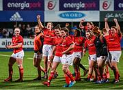 11 September 2021; Munster players celebrate after the Vodafone Women's Interprovincial Championship Round 3 match between Leinster and Munster at Energia Park in Dublin. Photo by Harry Murphy/Sportsfile