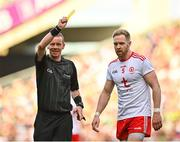 11 September 2021; Referee Joe McQuillan shows a yellow card to Frank Burns of Tyrone during the GAA Football All-Ireland Senior Championship Final match between Mayo and Tyrone at Croke Park in Dublin. Photo by Seb Daly/Sportsfile