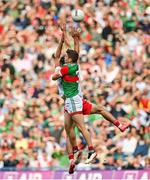 11 September 2021; Lee Keegan of Mayo in action against Conor McKenna of Tyrone during the GAA Football All-Ireland Senior Championship Final match between Mayo and Tyrone at Croke Park in Dublin. Photo by Seb Daly/Sportsfile