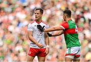 11 September 2021; Kieran McGeary of Tyrone and Michael Plunkett of Mayo during the GAA Football All-Ireland Senior Championship Final match between Mayo and Tyrone at Croke Park in Dublin. Photo by Seb Daly/Sportsfile